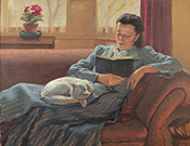 Woman Reclining Whilst Reading a Book with a Cat on Her Lap